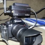 Teradek Cube 220 attached to a Panasonic Lumix Gh2 with a Sony Battery